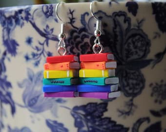 Rainbow Stack of Books Earrings (Made to Order) - LGBT / PRIDE / NHS - Book Jewelry by Coryographies