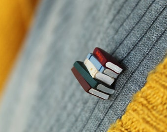 Tiny Pin Badge, Stack of Books - Book Jewellery by Coryographies (Made to Order)