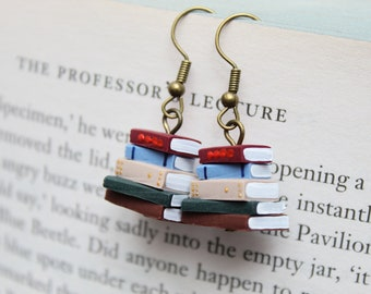 Stack of Books Earrings, Library Colours (Made to Order) - Book Jewelry by Coryographies