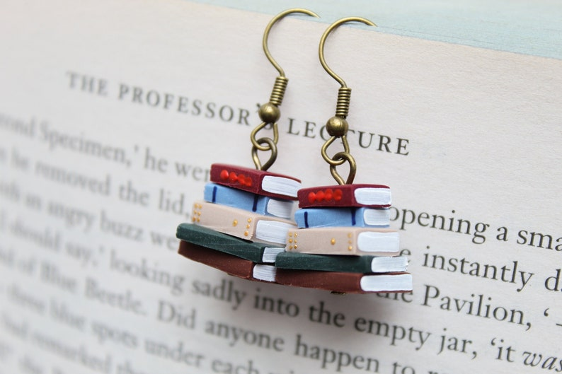 Stack of Books Earrings Library Colours Made to Order  image 0