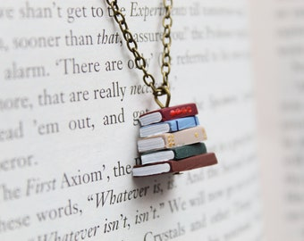 Stack of Books Necklace - Tiny pile of books on a bronze chain for bookworms and booklovers by Coryographies