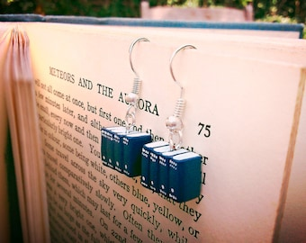 Encyclopedia Earrings, Blue Miniature Book Earrings (Made to Order) Book Jewelry by Coryographies
