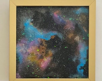 """Mixed media resin space art - 8x8"""" with gold frame"""