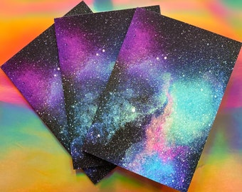 Space Art Greeting Cards w Envelopes - 3 pack - galaxy design