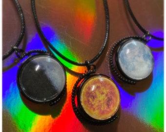 Sun/Moon Rotating Pendant Necklace