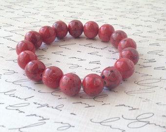 Red-Pink and Black Stretch Bracelet