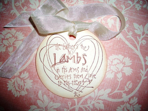 Little Lambs Bible Verse   Baby   Baby Shower   Easter   He Gathers The  Lambs In His Arms   Isaiah 40:11   Lovely Bible Verse   Set Of Six From ...