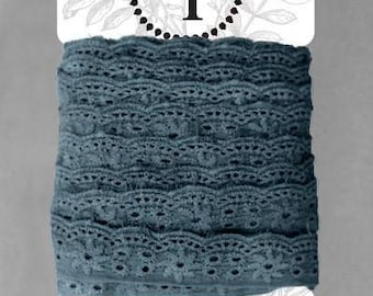 Naturally Dyed Organic Cotton Lace Light Indigo *sold by the 5m card* 2.75cm wide