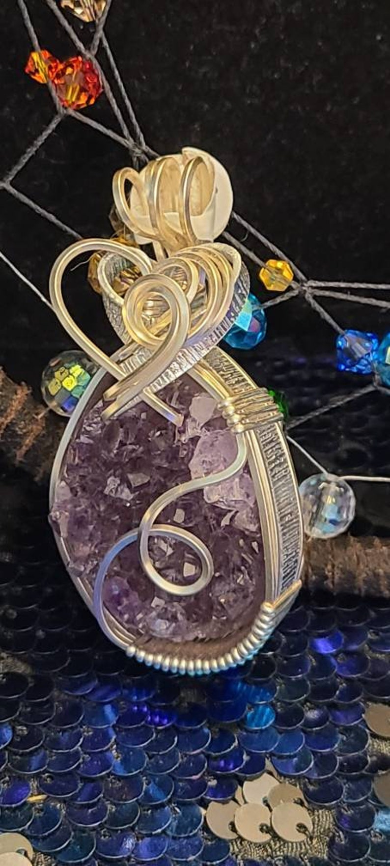 Sparkling Amethyst Wire Wrapped Pendent