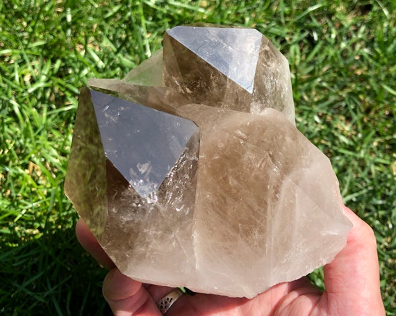 crystals Natural smokey quartz clusters