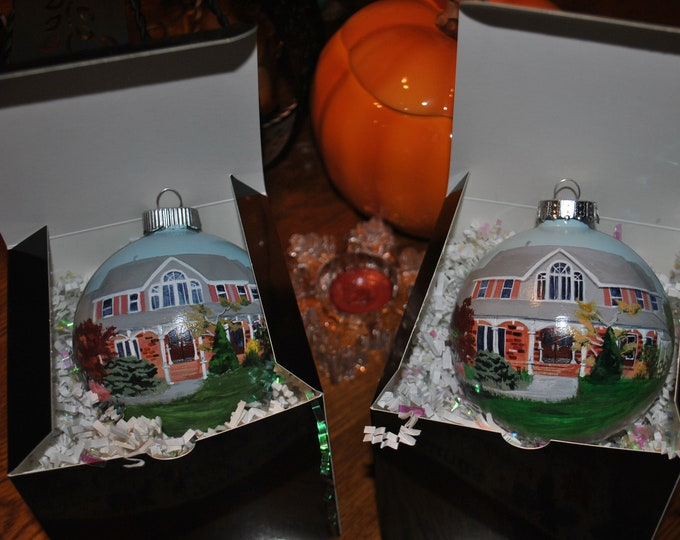 Double the Fun Hand Painted Home Ornament both front and back painted  for son and daughter Treasured Memories - sold