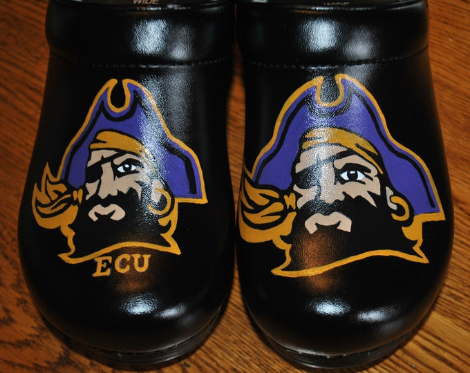 Custom Hand Painted Leather Nursing shoes with ECU Pirate Nation, East Caorlina University - sorry sold customer provided the shoes