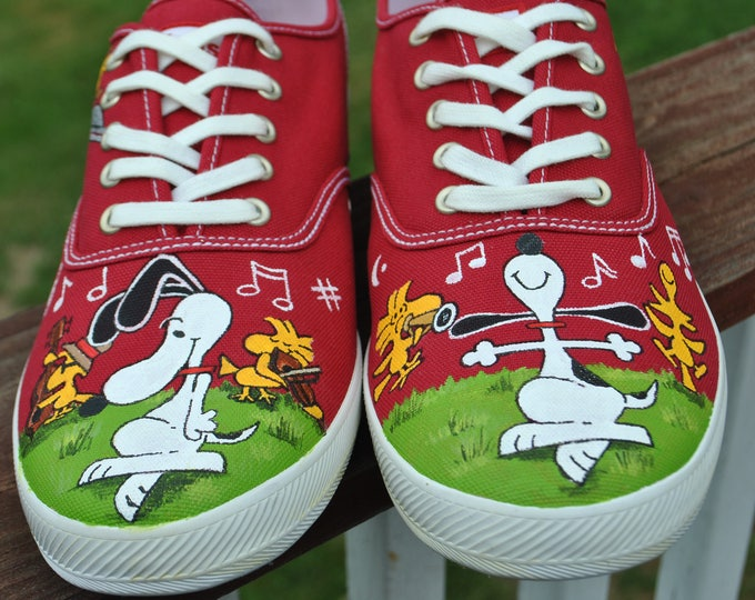 New Custom Hand Painted Dancing snoopy for Rock N Roll Dancer  * note shoes are included - sold