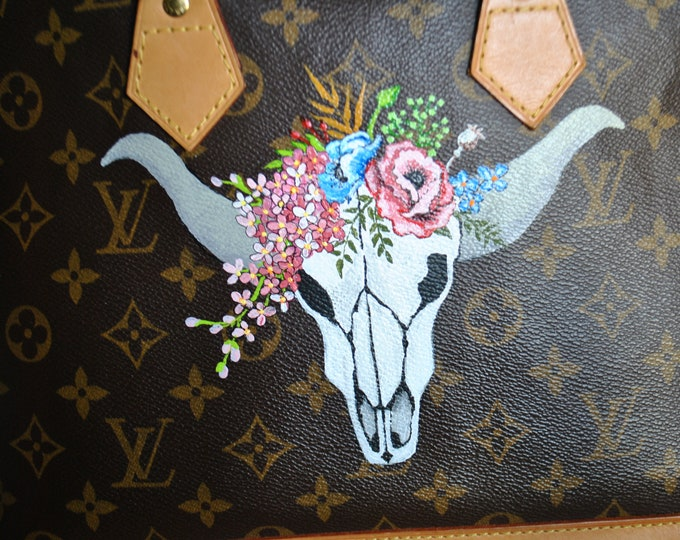 Custom Louis Vuitton Hand Painted Bull Skill with decoative flowers   so sold cutomer provided purse