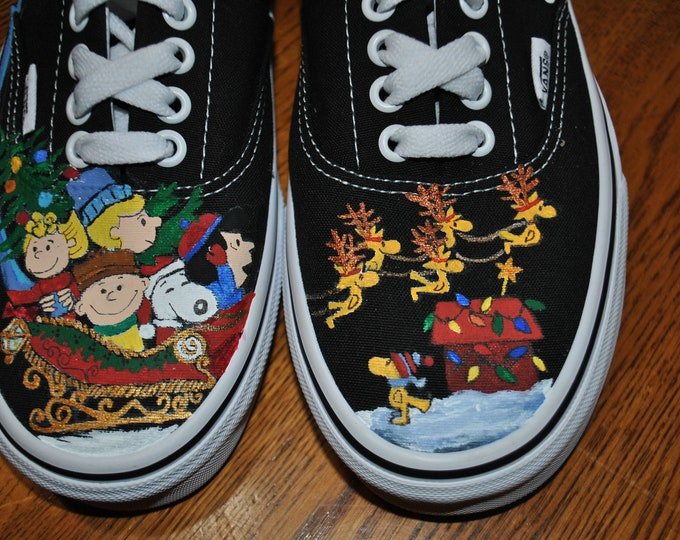 Ready 2 Ship New Christmas shoes, Charlie Brown and the Peanuts Gang in sled with woodstocks as reindeer size 8.0 womens ready to ship