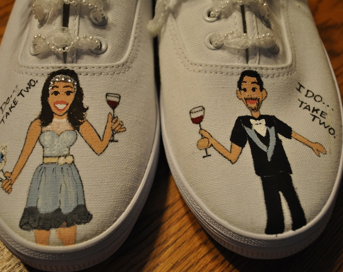 "New Wedding sneakers design... fun ""i do take two""  size 10  - sold"