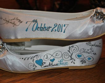 New Hand Painted Satin Wedding shoes size 6 - customized - sold