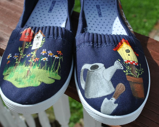 Cute Little Garden Sneakers with birdhouses and gardening tools size 8 - SOLD