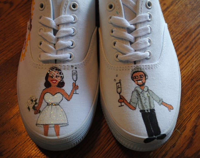 custom hand painted wedding shoes for Diana and Rich size 8.5  -  sold this is a sample only