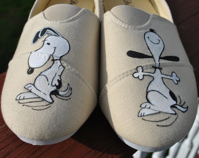 Dancing Snoopy Hand Painted Shoes size 8 - SOLD