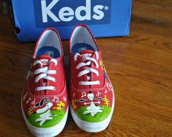 0c354bd065a Custom Hand Painted Musical Snoopy Shoes size 8 sorry sold made to order