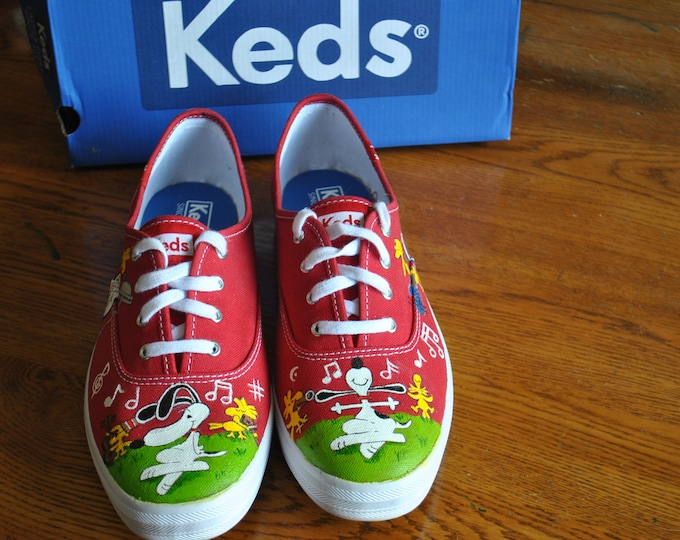Custom Hand Painted Musical Snoopy Shoes  size 8   sorry sold made to order