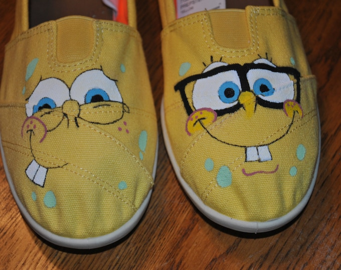 New Funny Hand painted sponge bob sneakers size 9-- sold only for display