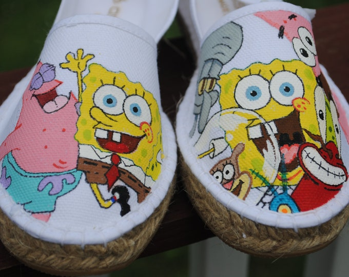 Funny New Sponge Bob and Friends Design for Hand painted custom shoes size 7  - SOLD