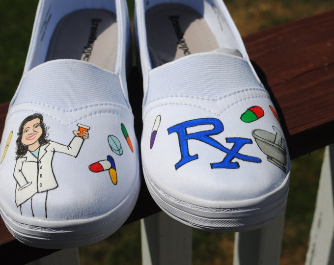 Custom Hand Painted size 7 grasshopper sneakers done with Pharmacy Theme.... sorry sold
