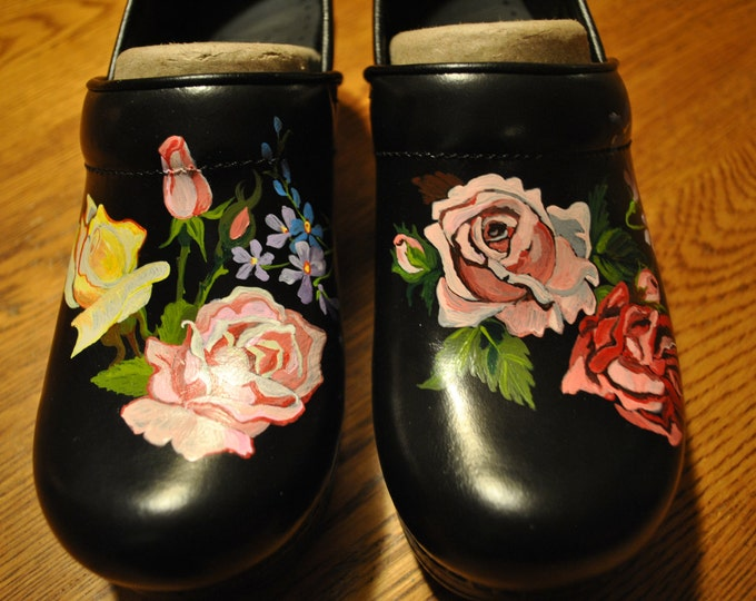 New Custom Hand Painted Danskos Vintage Roses and forget-me-not's ----- Sold Customer provided the shoes