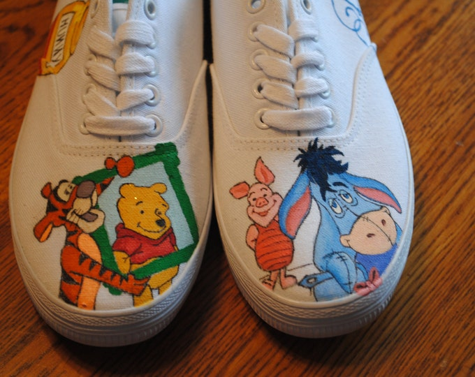 Custom Hand Painted Winnie the Pooh and his gang shoes - PLS NOTE;  These are a sample - SOLD