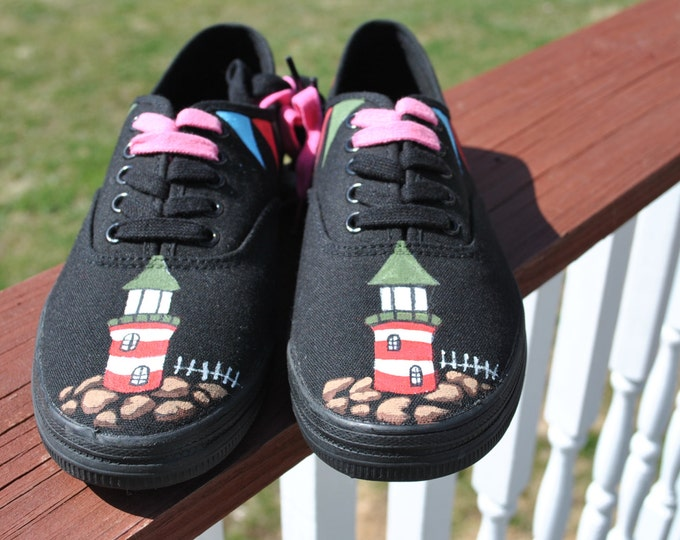 Lighthouse hand painted sneakers size 7.5 - SOLD
