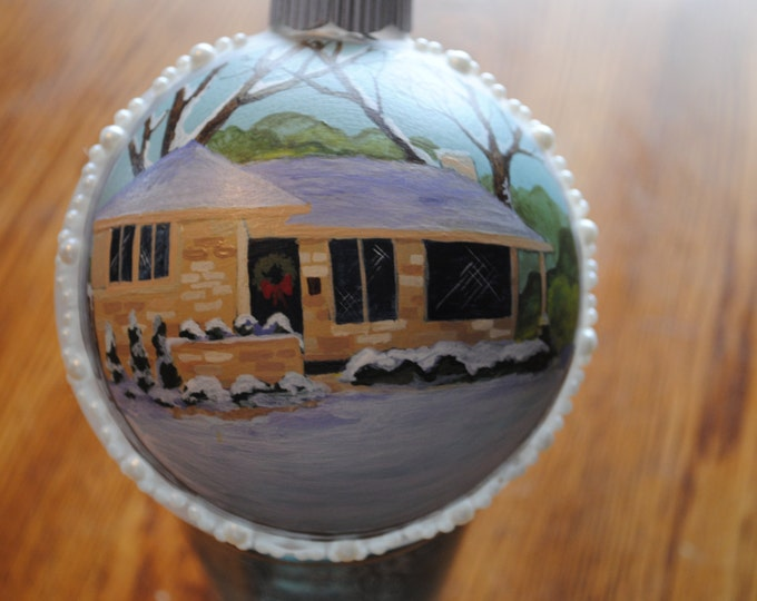 Custom Home Hand Painted ornament w/ faux pearls around the outside.  sample sold