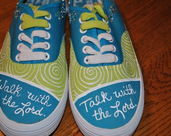 For Sale Christian shoes hand painted size 6 walk with the lord, talk with the lord READY TO SHIP