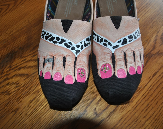 Custom Hand Painted Toms feet w/ embelishments fushia toes and toe ring --- size 7.5   sold