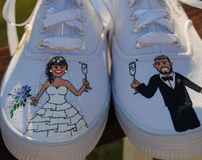 Custom hand painted wedding shoes... Married in Fabulous Vincigliato Italy size 8.5  - sold