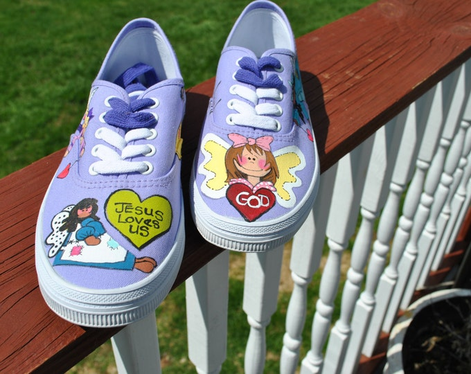 Purple Christian Angels HAND PAINTED SNEAKERS Size 7.5 - sorry sold unable to get purple sneakers anymore.