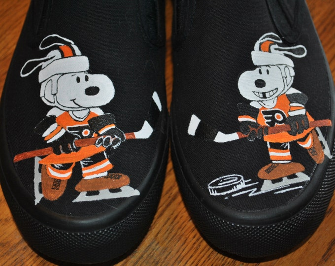 Custom Hand Painted Fun Snoopy playing hockey for Phili Flyers size 8 -Sold