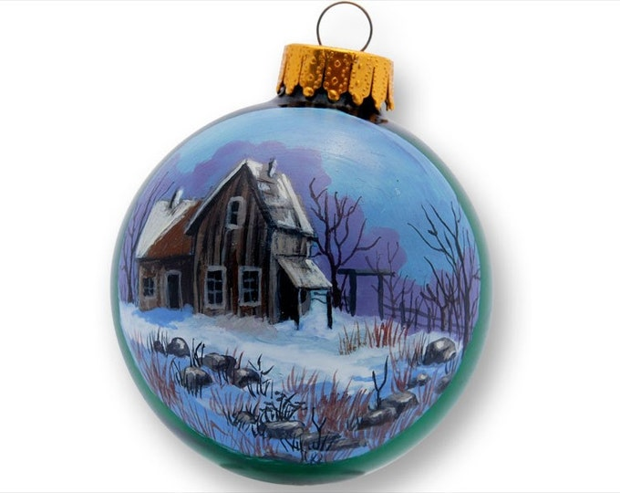 Green Glass Ornament Old House evening snow fall