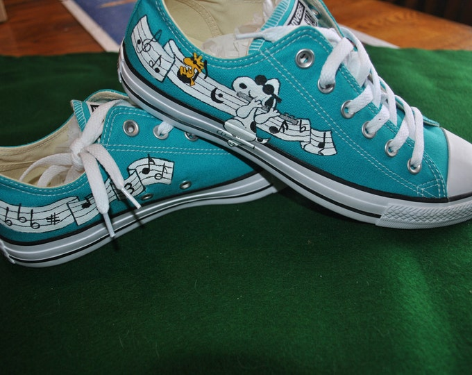 Custom Converse sneakers with Musical snoopy playing the flute ---- sold sorry