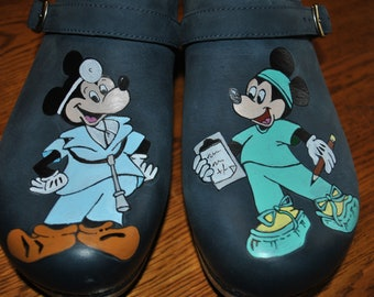 Customized Dr., Nurse Mickey Mouse Clogs Hand painted Clogs  sorry sold please note the customer provided the shoes