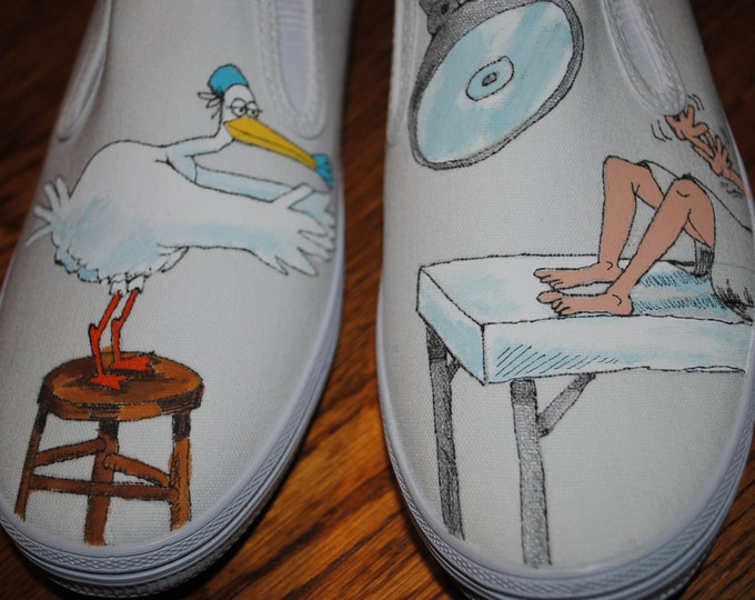 HHHHEEEYYY Labor and Delivery Nurses these funny sneakers are for you guys... womens size 8 SOLD this is just display