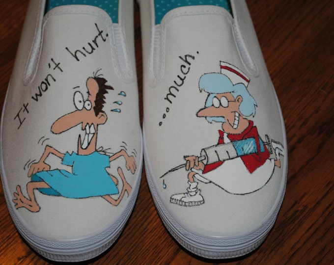 For Sale New Nurse Design Shoe for you wonderful funny nurses...I LOve you size 8  READY TO SHIP