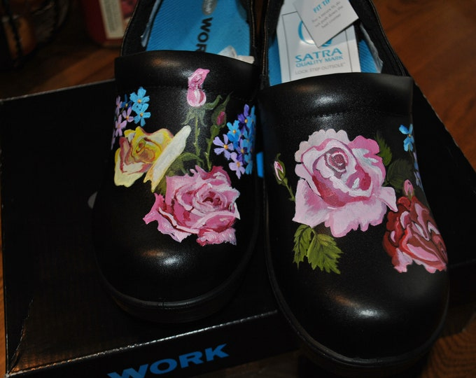Ready to ship Roses and forget me nots womens Nursing shoes 9M Dr. Scholls Work all leather shoes