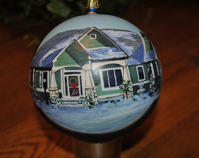 "Handblown Glass Custom Ornament 4.75"" in diam.  special order hand painted - sold."
