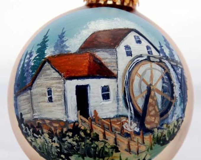 Hand painted Old White Mill on gold ornament
