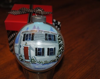New Home Hand Painted Ornament done from picture  -SOLD just for display