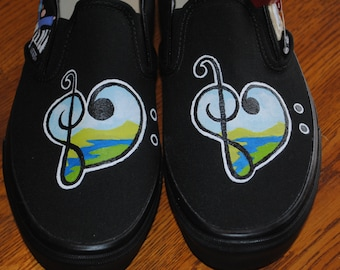 Custom Hand Painted Sneakers Womens Vans size 9.5 - Musical and Choir design - item sold for display only