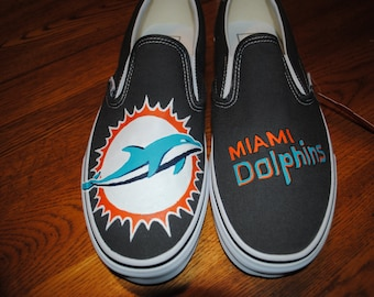 New Custom Hand Painted Charcoal Grey Vans slip ons with Miami Dolphins size 12 sorry sold