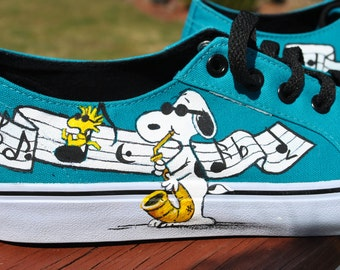 Cute and Funny Teal Hand Painted Airwalk Sneakers size 8.5 painted with Snoopy and music theme - SOLD